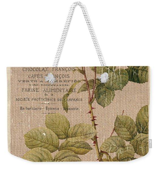Vintage Burlap Floral 4 Weekender Tote Bag