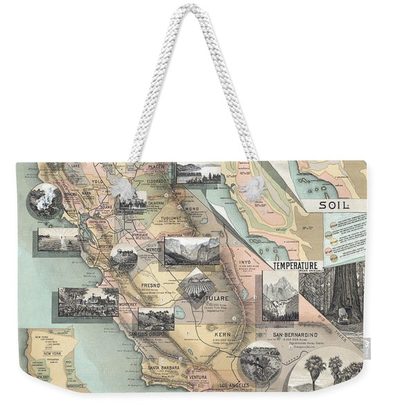 Vintage California Map Weekender Tote Bag