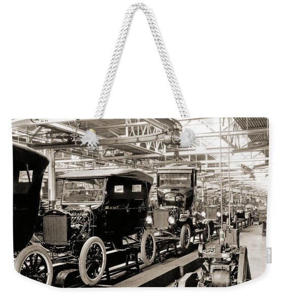 Vintage Car Assembly Line Weekender Tote Bag