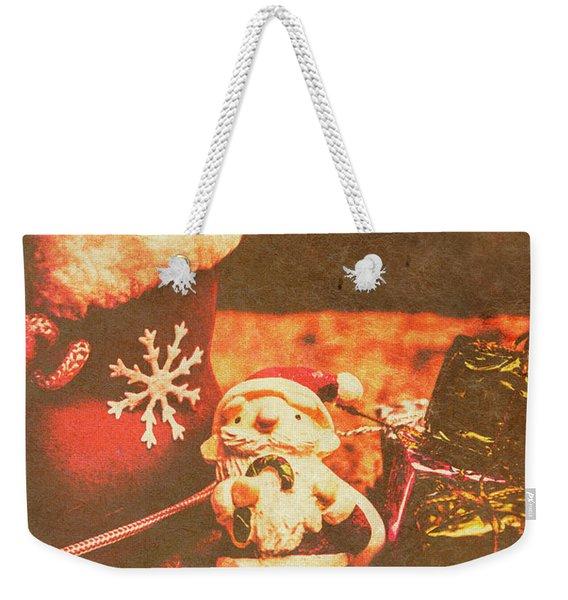 Vintage Christmas Art Weekender Tote Bag