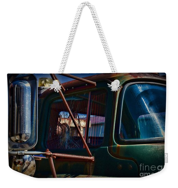 Vintage Dodge Truck Shattered Window Weekender Tote Bag