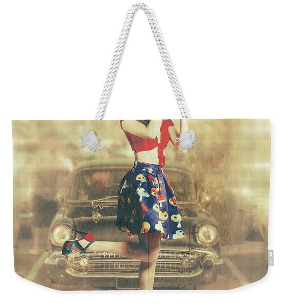 Vintage Drive Thru Pin-up Girl Weekender Tote Bag