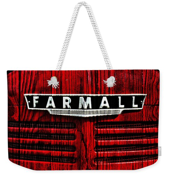 Vintage Farmall Red Tractor With Wood Grain Weekender Tote Bag