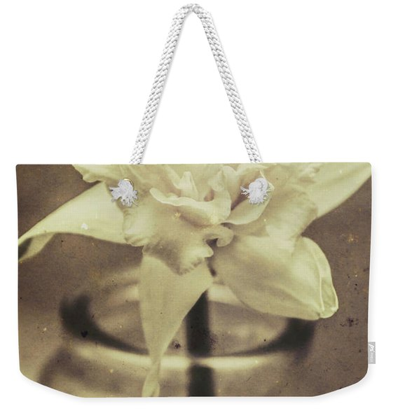 Vintage Floral Still Life Of A Pure White Bloom Weekender Tote Bag
