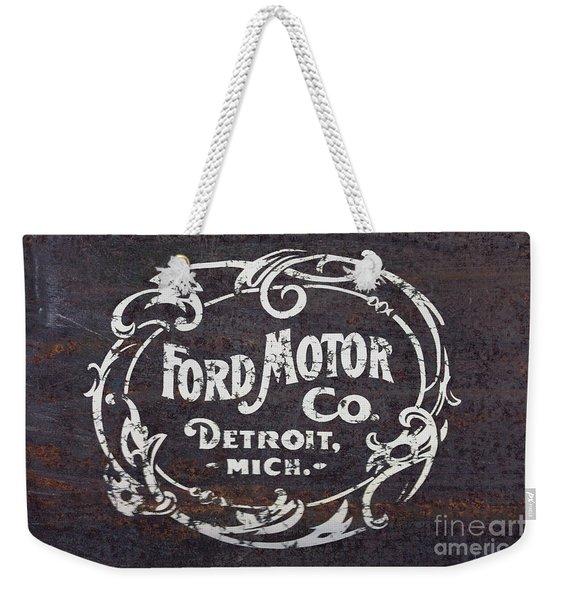 Vintage Ford Motor Co. Rusty Sign Weekender Tote Bag