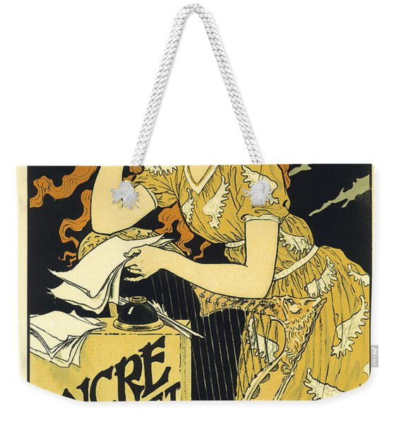 Vintage French Advertising Art Nouveau Encre L'marquet Weekender Tote Bag