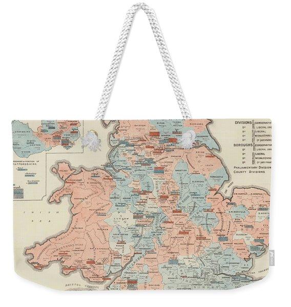 Vintage Graphic Parliamentary Map Weekender Tote Bag