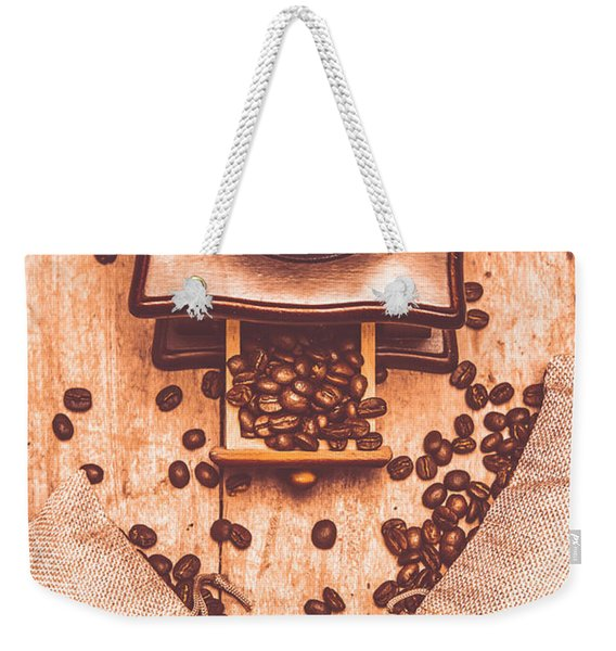 Vintage Grinder With Sacks Of Coffee Beans Weekender Tote Bag