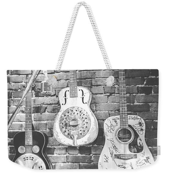 Vintage Guitar Trio In Black And White Weekender Tote Bag