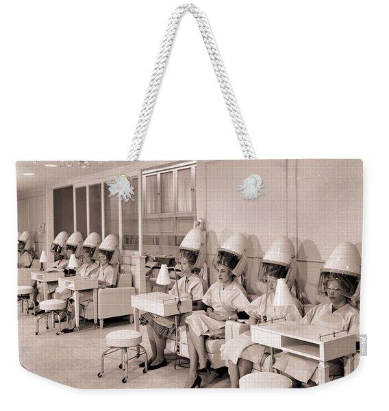 Vintage Hair Salon Ladies Hairdryers Weekender Tote Bag