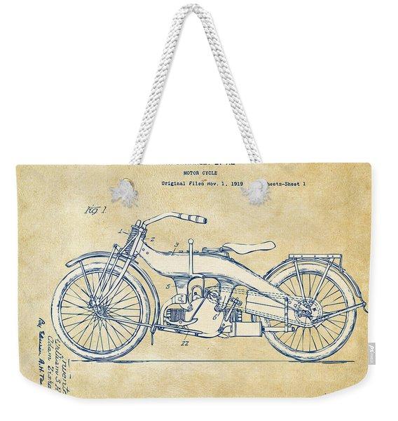 Vintage Harley-davidson Motorcycle 1924 Patent Artwork Weekender Tote Bag