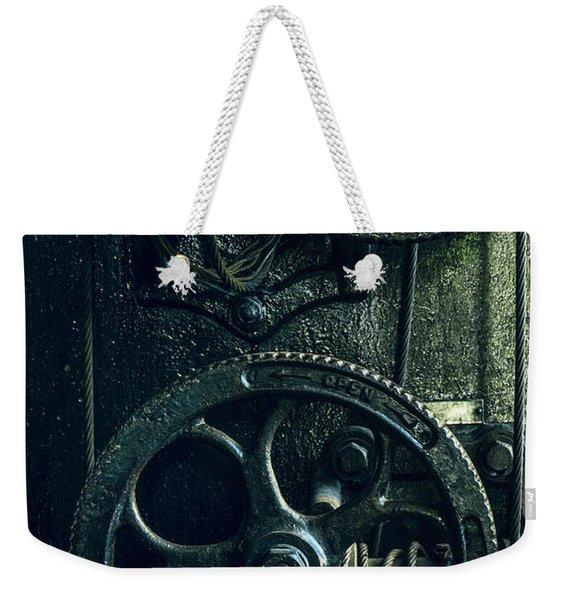 Vintage Industrial Wheels Weekender Tote Bag