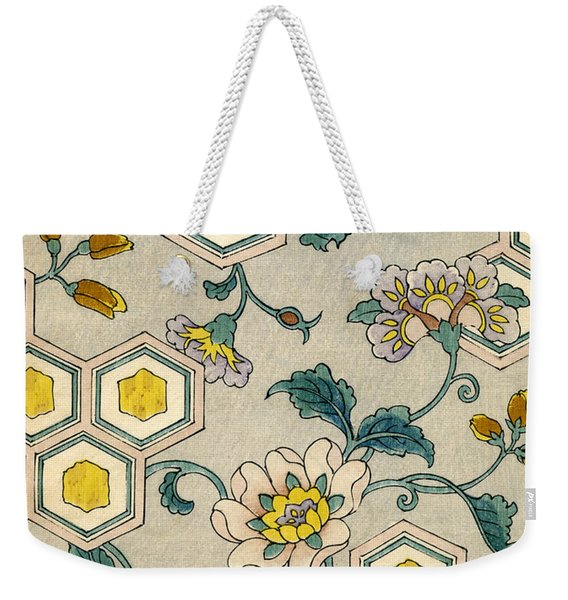 Vintage Japanese Illustration Of Blossoms On A Honeycomb Background Weekender Tote Bag