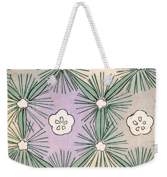 Vintage Japanese Illustration Of Pine Needles And Blossoms Weekender Tote Bag