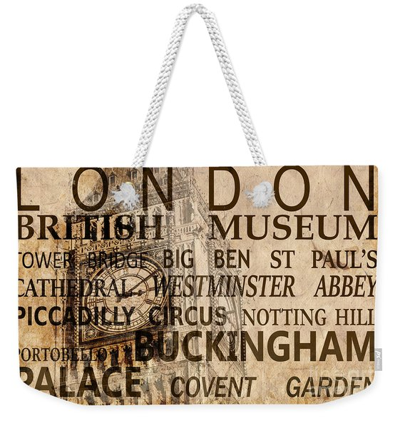 Vintage London Sepia Weekender Tote Bag