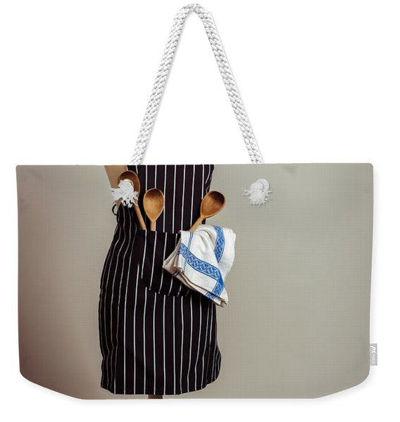 Vintage Mannequin With Kitchen Utensils Weekender Tote Bag