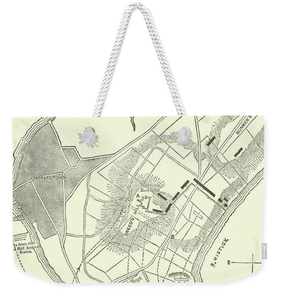 Vintage Map Of The Battle Of Bunker Hill Weekender Tote Bag