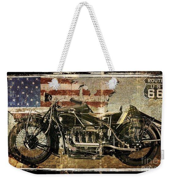 Vintage Motorcycle Unbound Weekender Tote Bag