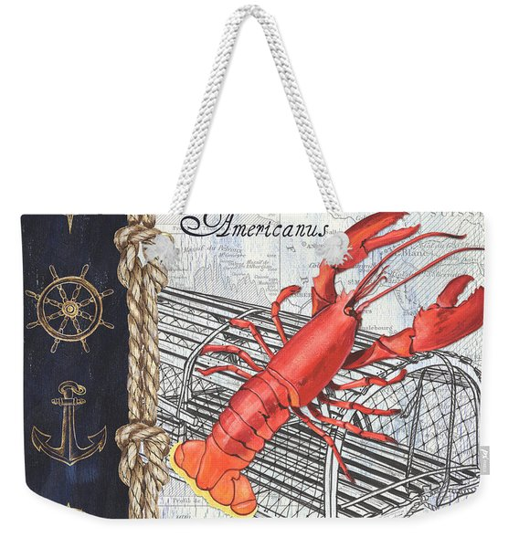 Vintage Nautical Lobster Weekender Tote Bag