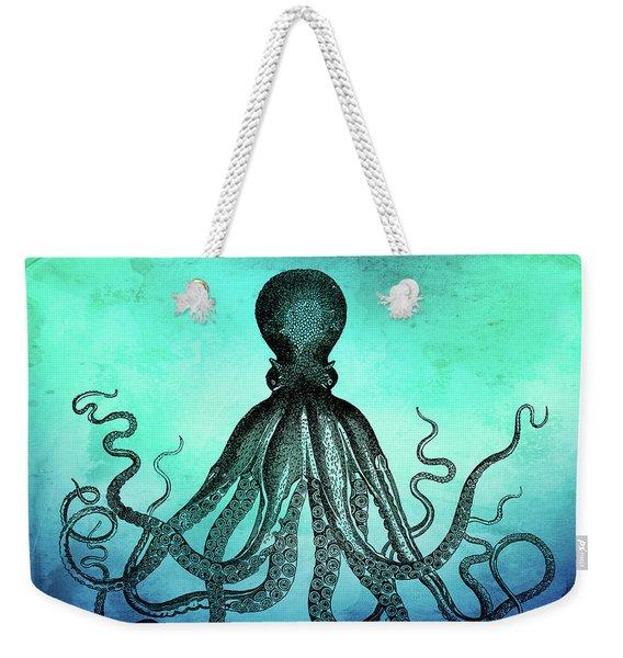 Vintage Octopus On Blue Green Watercolor Weekender Tote Bag