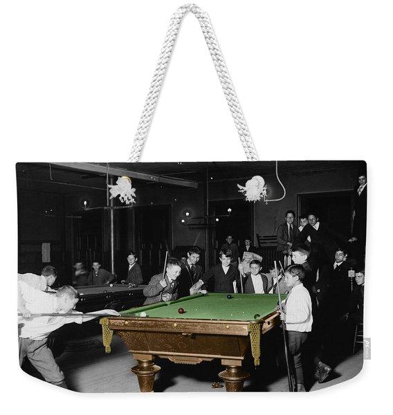 Vintage Pool Hall Weekender Tote Bag