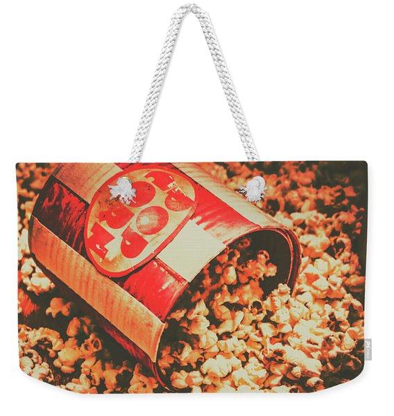 Vintage Popcorn Tin. Faded Films Still Life Weekender Tote Bag