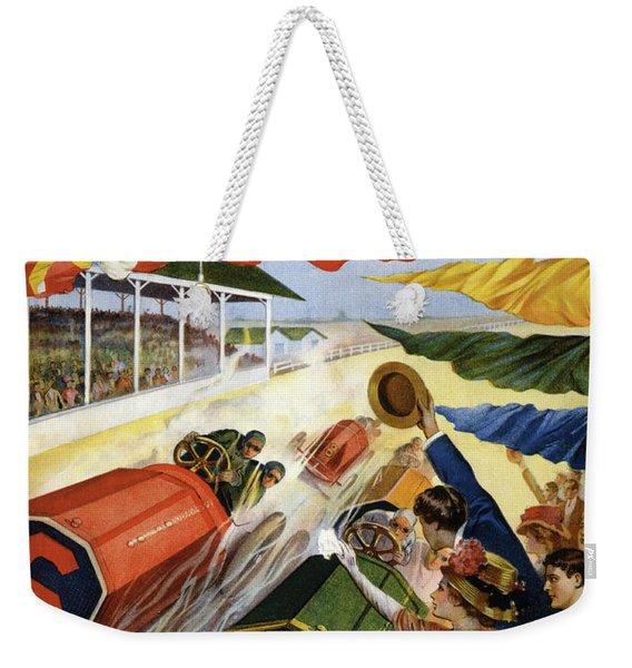 Vintage Poster Advertising The Indianapolis Motor Speedway Weekender Tote Bag