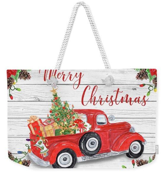 Vintage Red Truck Christmas-a Weekender Tote Bag