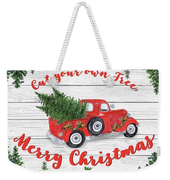 Vintage Red Truck Christmas-b Weekender Tote Bag