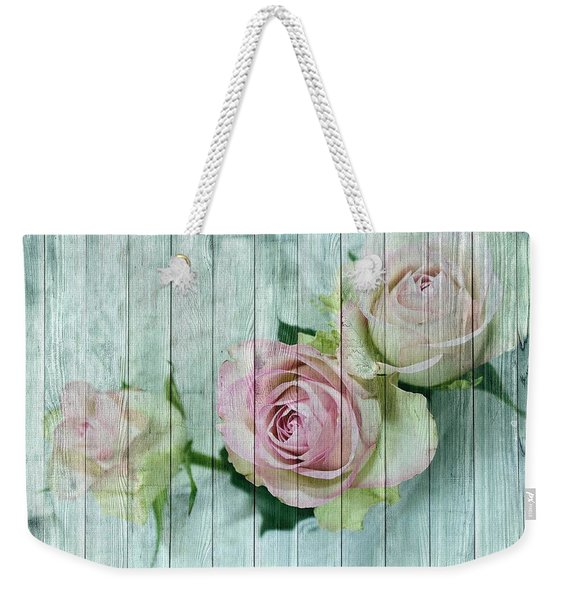 Vintage Shabby Chic Pink Roses On Wood Weekender Tote Bag