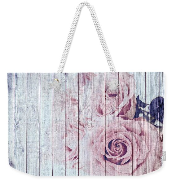 Vintage Shabby Chic Dusky Pink Roses On Blue Wood Effect Background Weekender Tote Bag