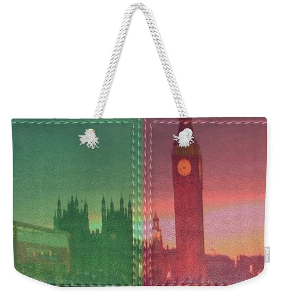 Vintage Style Wall Decorations London Clock Tower And Double Deckker Bus Weekender Tote Bag