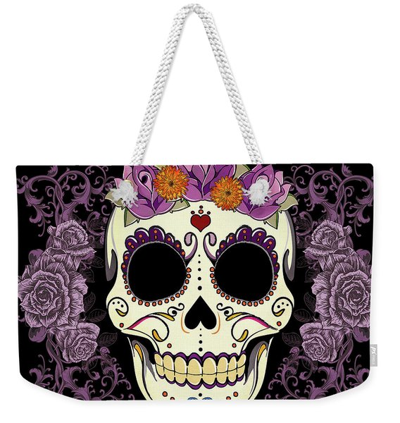 Vintage Sugar Skull And Roses Weekender Tote Bag