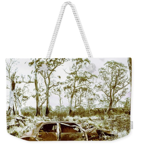 Vintage Winter Car Wreck Weekender Tote Bag