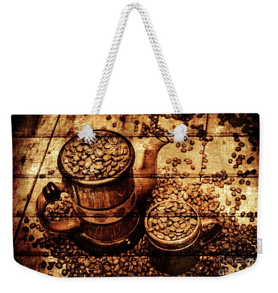 Vintage Wooden Coffee Shop Sign Weekender Tote Bag