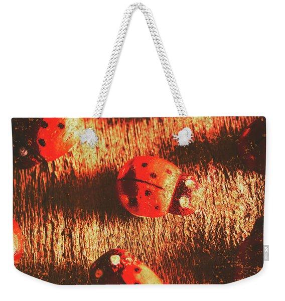 Vintage Wooden Ladybugs Weekender Tote Bag