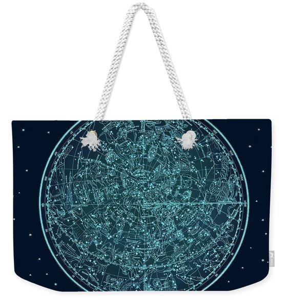 Vintage Zodiac Map - Teal Blue Weekender Tote Bag