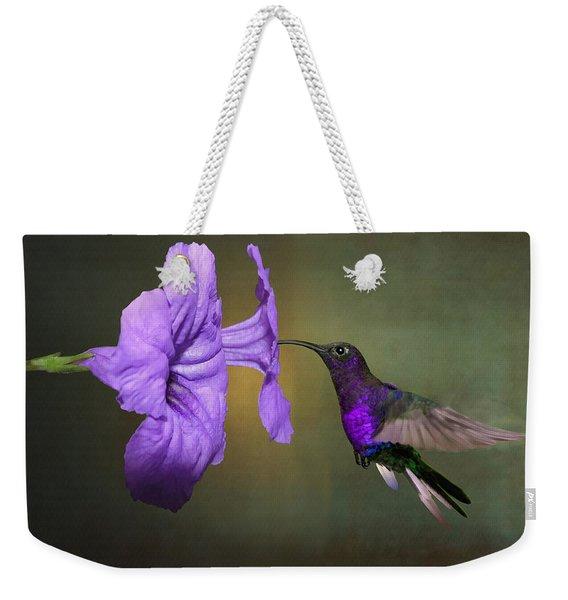 Violet Sabrewing Hummingbird Weekender Tote Bag