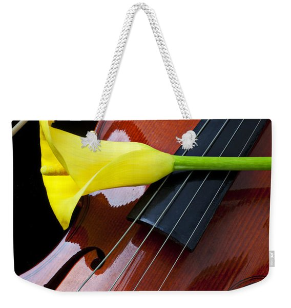 Violin With Yellow Calla Lily Weekender Tote Bag