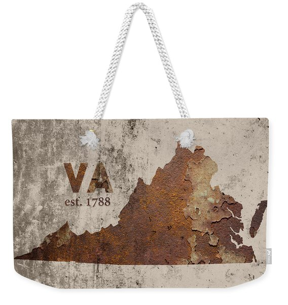 Virginia State Map Industrial Rusted Metal On Cement Wall With Founding Date Series 028 Weekender Tote Bag