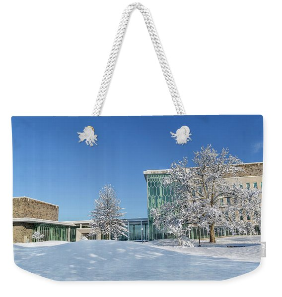Virginia Tech Campus Moss Arts Center And Institute For Creativity Arts Technology Snowy Day Weekender Tote Bag