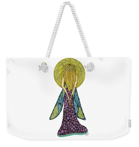 Weekender Tote Bag featuring the drawing Virgo by Barbara McConoughey