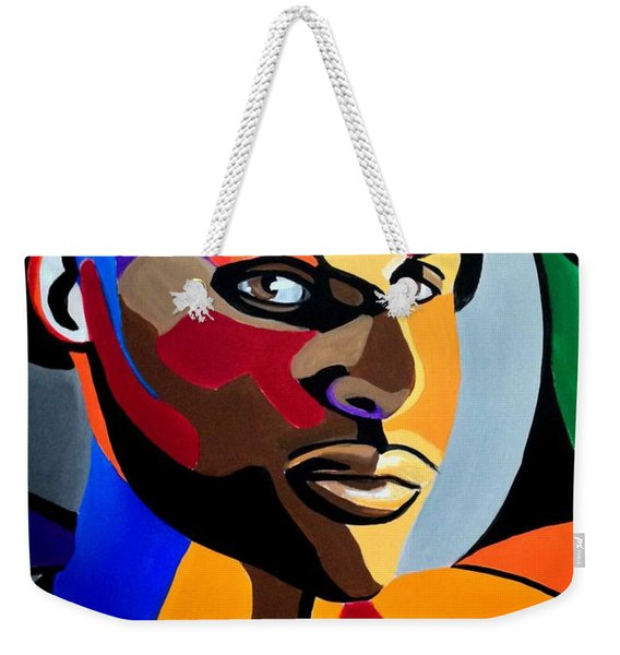 Visionaire, Abstract Male Face Portrait Painting - Illusion Abstract Artwork - Chromatic Weekender Tote Bag