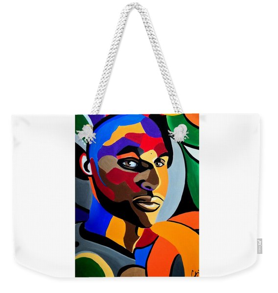 Visionaire Male Abstract Portrait Painting Chromatic Abstract Artwork Weekender Tote Bag