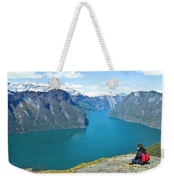 Visitor At Aurlandsfjord Weekender Tote Bag