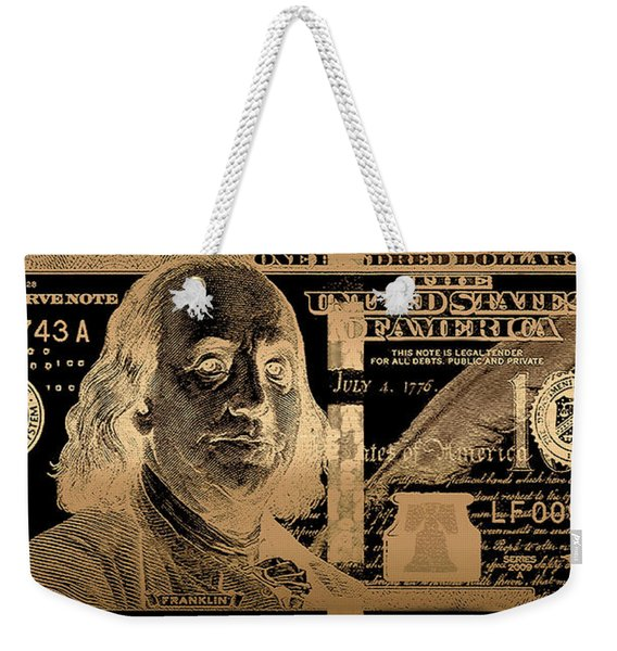 One Hundred Us Dollar Bill - $100 Usd In Gold On Black Weekender Tote Bag