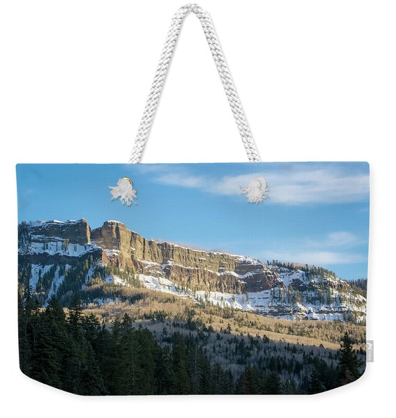 Weekender Tote Bag featuring the photograph Volcanic Cliffs Of Wolf Creek Pass by Jason Coward