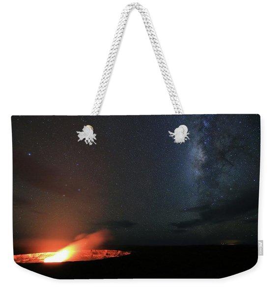 Volcano Under The Milky Way Weekender Tote Bag