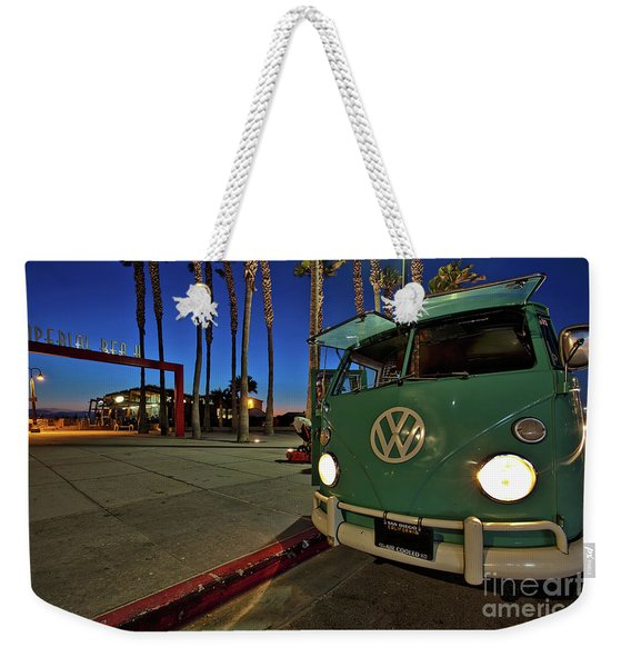 Weekender Tote Bag featuring the photograph Volkswagen Bus At The Imperial Beach Pier by Sam Antonio Photography