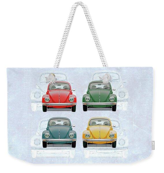 Volkswagen Type 1 - Variety Of Volkswagen Beetle On Vintage Background Weekender Tote Bag
